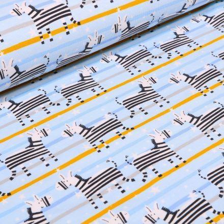 Tissu Jersey Coton Zèbres et rayures jaunes sur fond Bleu - Par 10 cm