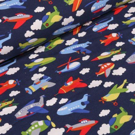 Tissu Jersey Coton Transports aériens sur fond Bleu marine - Par 10 cm