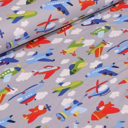 Tissu Jersey Coton Transports aériens sur fond Gris - Par 10 cm