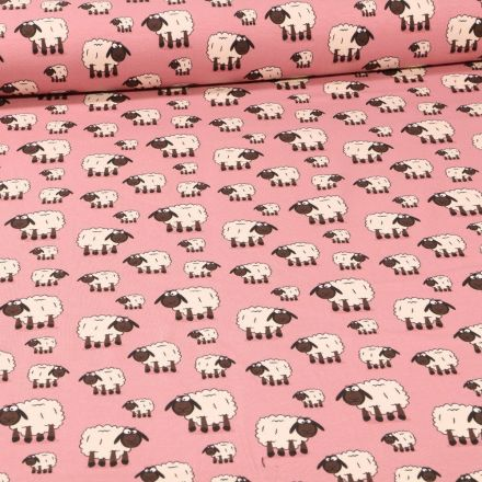 Tissu Jersey Coton Moutons sur fond Rose - Par 10 cm