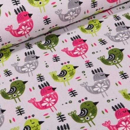 Tissu Jersey Coton Poulettes sur fond Gris - Par 10 cm