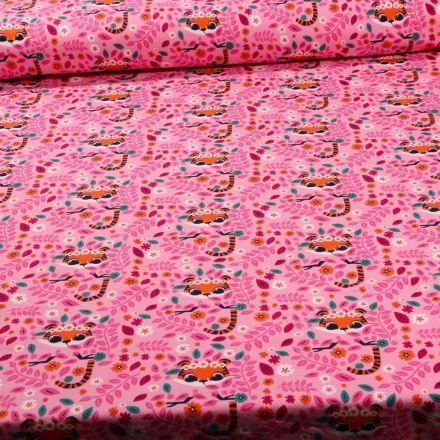 Tissu Jersey Coton Têtes de tigres sur fond Rose - Par 10 cm