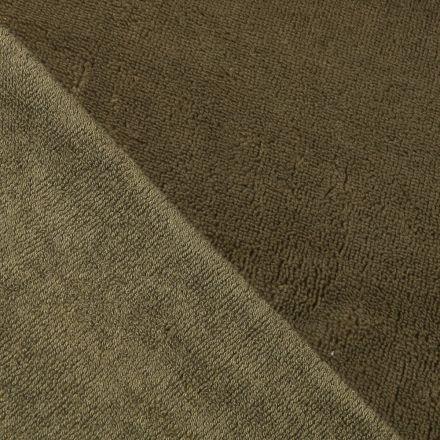 Tissu Micro Éponge Bambou Vert kaki - Par 10 cm