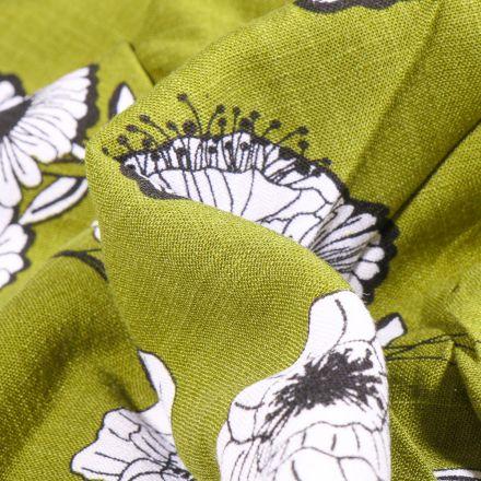 Tissu Viscose extensible Fleurs pavot sur fond Vert