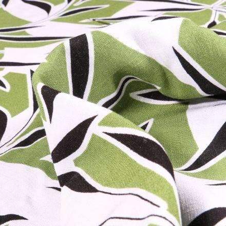 Tissu Viscose extensible Feuilles de bambou sur fond Vert