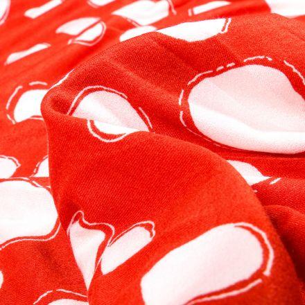 Tissu Jersey Viscose avec aspect crêpe Bubble sur fond Rouge