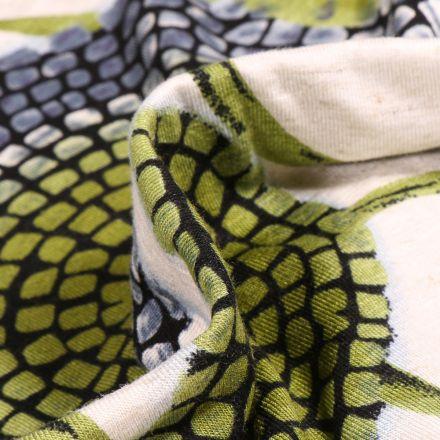 Tissu Jersey Viscose Lin Motifs abstraits vert sur fond Ecru