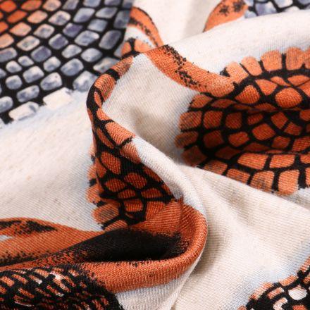Tissu Jersey Viscose Lin Motifs abstraits orange sur fond Ecru