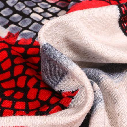 Tissu Jersey Viscose Lin Motifs abstraits rouge sur fond Ecru