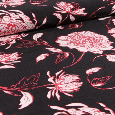 Tissu Bengaline Fleurs rouges sur fond Noir