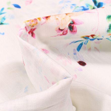 Tissu Coton Viscose aspect lin Fleurs colorées et quadrillages sur fond Blanc