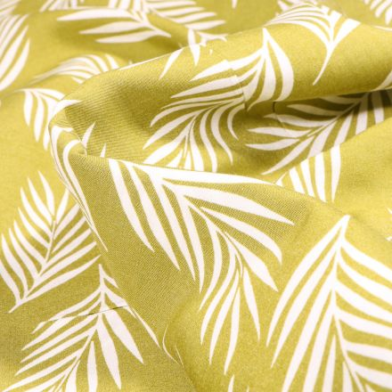 Tissu Viscose Popeline Feuilles de palme blanches sur fond Vert anis