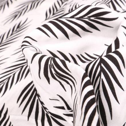Tissu Viscose Popeline Feuilles de palme noires sur fond Blanc