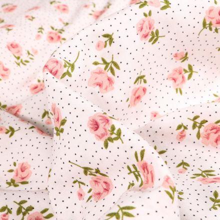 Tissu Viscose Popeline Marie-Louise sur fond Blanc