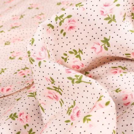 Tissu Viscose Popeline Marie-Louise sur fond Rose pâle