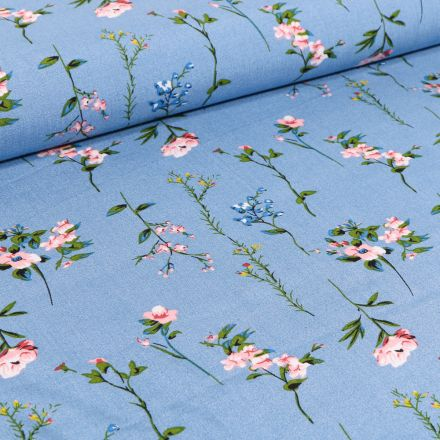 Tissu Viscose Popeline Pivoines sur fond Bleu