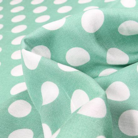 Tissu Viscose Pois XL sur fond Vert menthe