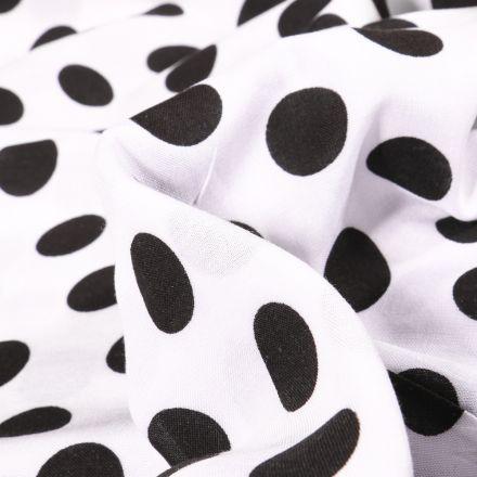 Tissu Viscose Pois XL sur fond Blanc