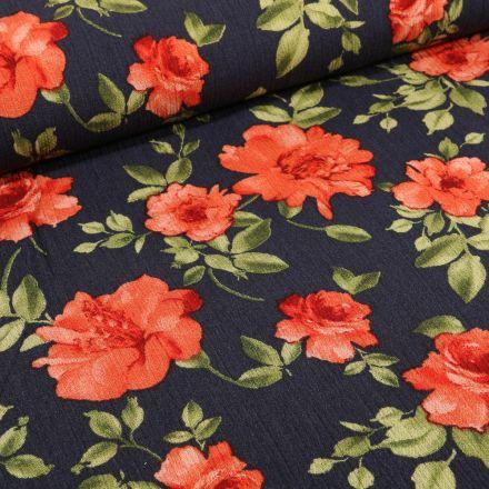 Tissu Crêpe Viscose Rose rouge sur fond Bleu marine