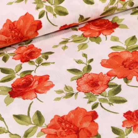 Tissu Crêpe Viscose Rose rouge sur fond Ecru