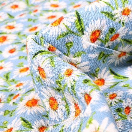 Tissu Viscose texturé Pâquerettes sur fond Bleu ciel