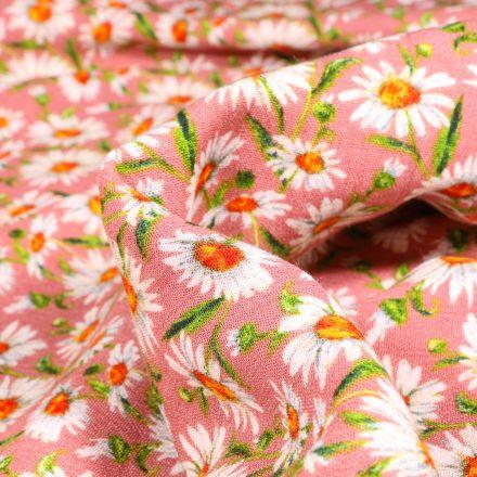 Tissu Viscose texturé Pâquerettes sur fond Rose nude