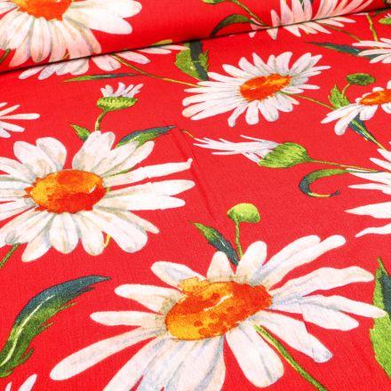 Tissu Crépon Viscose Marguerite XL sur fond Rouge