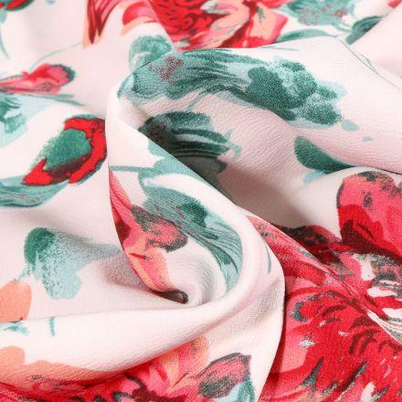 Tissu Crêpe stretch Pivoines colorées sur fond Blanc