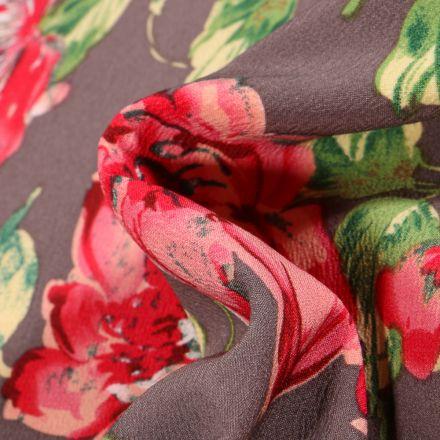 Tissu Crêpe stretch Pivoines colorées sur fond Gris