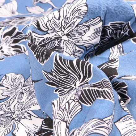 Tissu Crêpe Mix Flowers sur fond Bleu