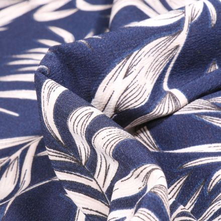 Tissu Crêpe Carmen sur fond Bleu marine
