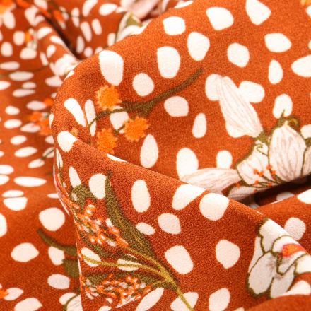 Tissu Crêpe Pois et fleurs sur fond Brique