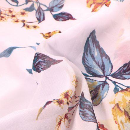 Tissu Mousseline Branches de cerisier et pivoines sur fond Blanc