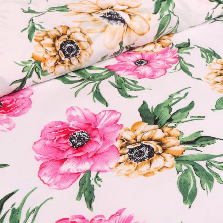Tissu Crêpe Georgette Pivoines rose et jaune sur fond Ecru