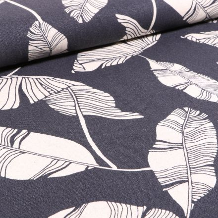 Tissu Viscose Lin Feuilles de palme sur fond Bleu marine
