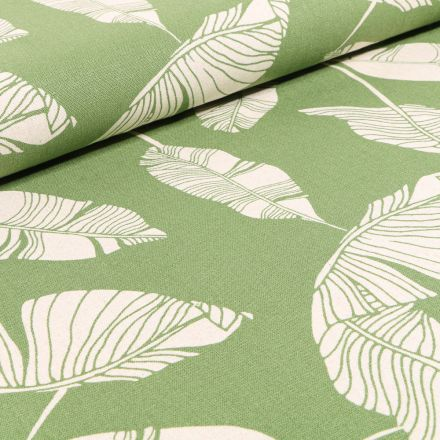 Tissu Viscose Lin Feuilles de palme sur fond Vert