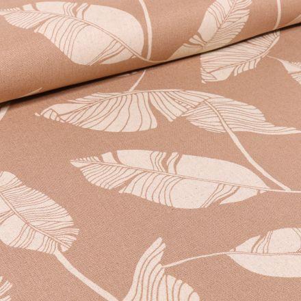 Tissu Viscose Lin Feuilles de palme sur fond Beige