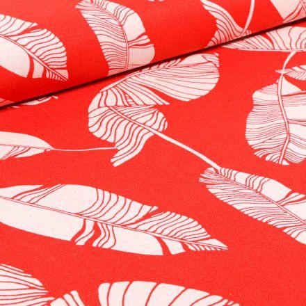 Tissu Viscose Lin Feuilles de palme sur fond Rouge