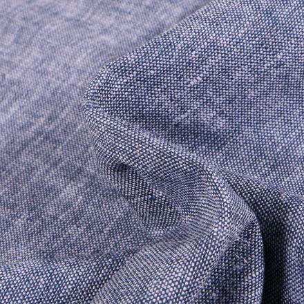 Tissu Viscose Lin chiné Caly Bleu denim