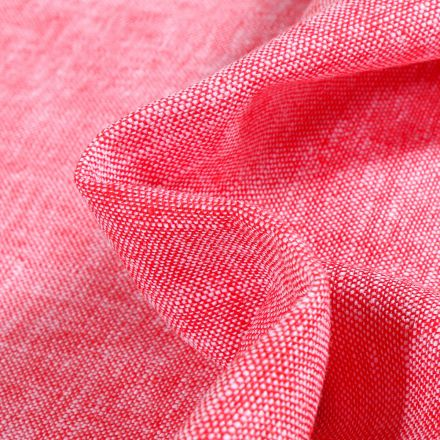 Tissu Viscose Lin chiné Caly Rouge chiné