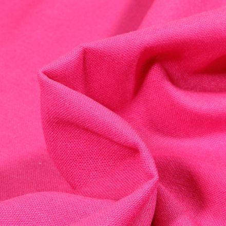 Tissu Coton Lin uni Rose fuchsia