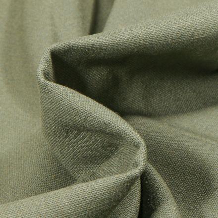 Tissu Coton Lin uni Vert kaki