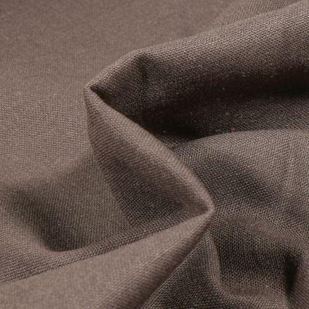 Tissu Coton Lin uni Marron