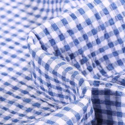 Tissu Seersucker Scarlett Vichy Petits carreaux sur fond Bleu denim