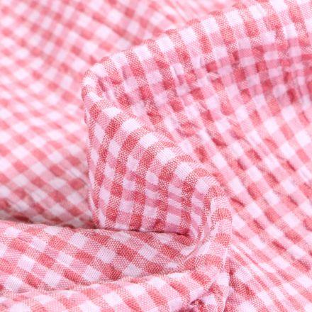 Tissu Seersucker Scarlett Vichy Petits carreaux sur fond Rose