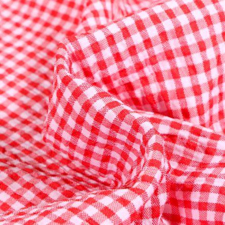 Tissu Seersucker Scarlett Vichy Petits carreaux sur fond Rouge