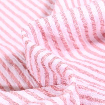 Tissu Seersucker Scarlett Rayures roses sur fond Blanc