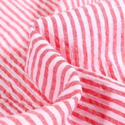 Tissu Seersucker Scarlett Rayures rouges sur fond Blanc