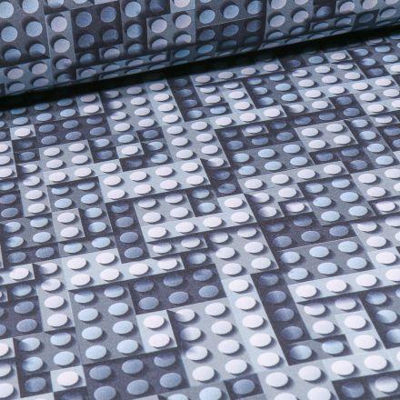 Tissu Softshell Jeux de construction sur fond Bleu marine