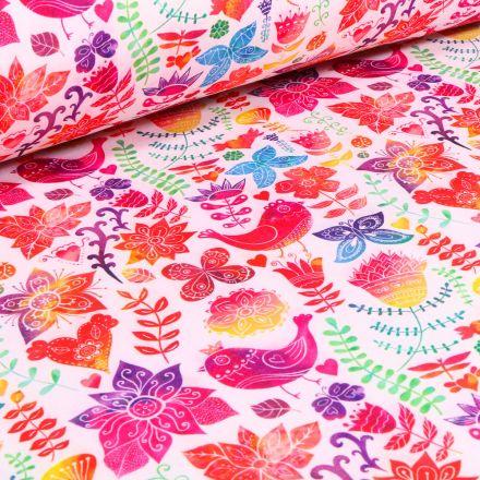 Tissu Softshell Fleurs et oiseaux multicolores sur fond Blanc